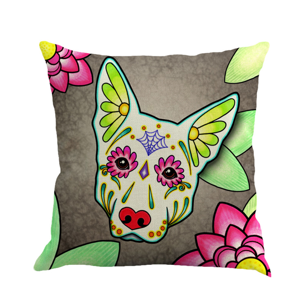 45*45cm Greyhound Painting Flax Throw Pillow Case Cushion Cover Throw Pillow Cover Pillowcase Sofa Bed Home Decor Kids Gift