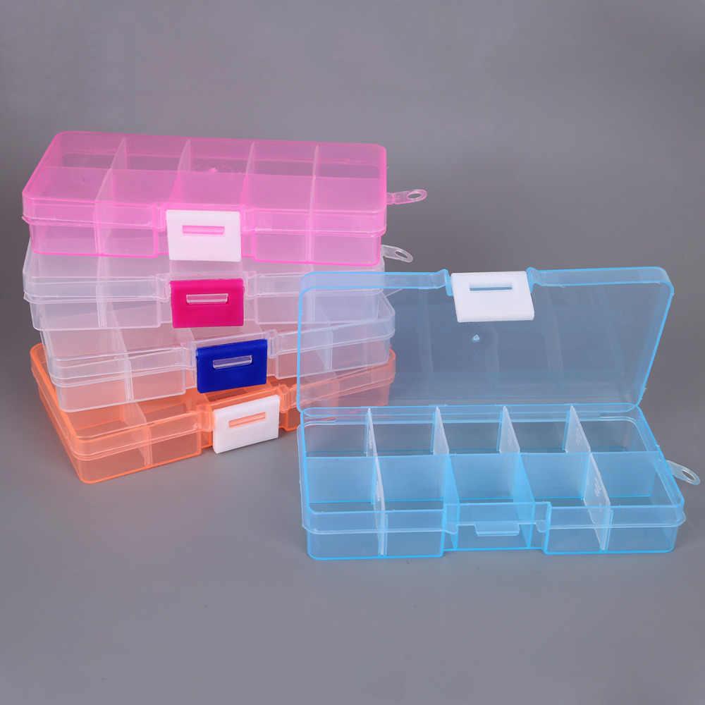 10 slot di Plastica ci sono un sacco di Gioielli di Stoccaggio Vano Staccabile Caso Craft Organizer Perline Box Contenitore per il Progettista