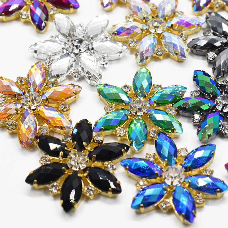 53666bb8b 1Pc 36mm Large Sewing Flowers AB Rhinestones Flatback Claw Crystals Stones  Sew On Resin Appliques For