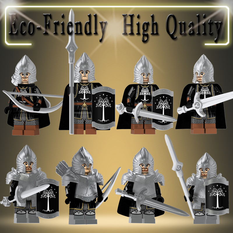 Single Sale Lord Of The Rings Action Figures Technic Knight Soldier Of Gondor  Spear Sword Building Blocks Bricks Toys KT1014