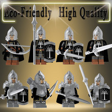 Single Dijual Lord Of The Rings Aksi Figur Teknik Knight Tentara Gondor Tombak Blok Bangunan Batu Bata Mainan KT1014(China)