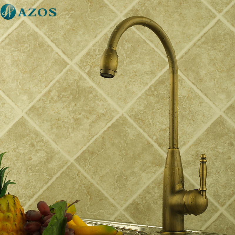 Kitchen Basin Faucet Vintage Rotatable Hose Spout Single Handle Nickle Brushed Antique Brass Bronze Deck Mounted Mixers CFLT213
