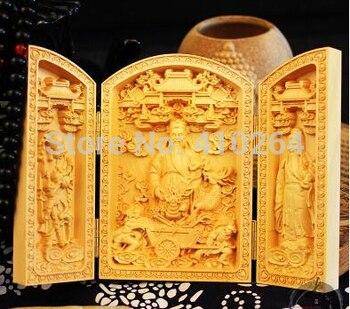 [古いクラフト]ツゲ彫刻仏の装飾品長老神々ギフト平方弥勒仏三オープンボックス|彫像 & 彫刻|ホーム&ガーデン -