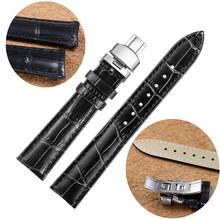 AOTU Calf Leather Belt for Watch Pattern Watchband 12-22mm Watch Strap Butterfly Clasp for Seiko Oris Citizen Push Clasp