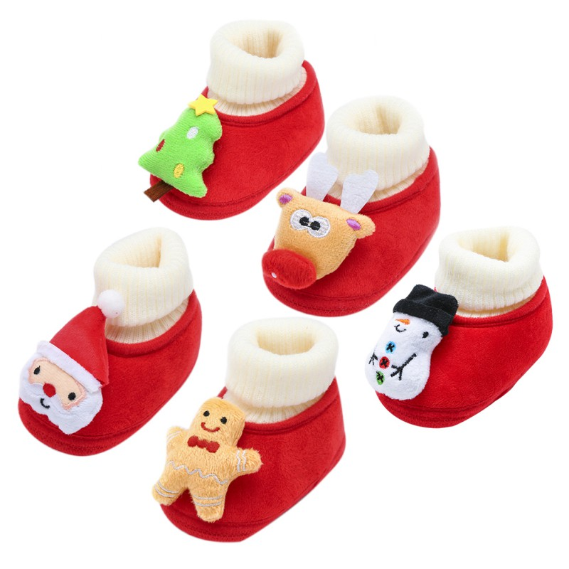 0-18M Baby Toddler Shoes Christmas Fluffy Cotton Baby Winter Warm Shoes Newborn Baby Toddler First Walkers Shoes N baby s first christmas cd