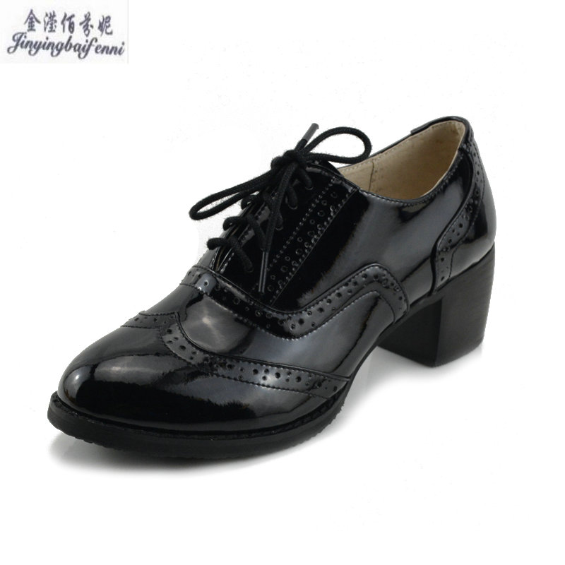 Patent Leather Oxford Shoes For Women British Style Bullock Women s Shoes Thick Heel deep mouth