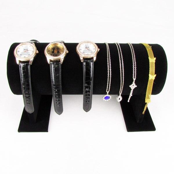 TONVIC High Quality Black Velvet Bracelet Hair Hoop Headband Watch Necklace Display Stand Holder T-Bar 30cm L