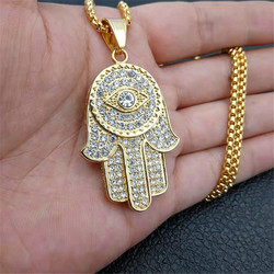 Women's Men's Hamsa Hand of Fatima Necklace Gold Color Stainless Steel Iced Out Evil Eye Pendant & Chain Hip Hop Turkish Jewelry