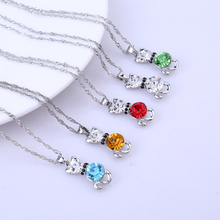 Фотография Multicolor White Gold Plated Cut AAA+ Cubic Zirconia CZ Cute Kitty Cat Animal Chain Pendant Necklace for Women Girls Hot Gift