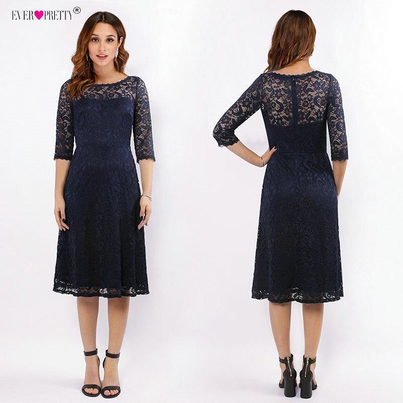 Cheap   Bridesmaid     Dresses   Lace Knee-Length Half Sleeve Short   Dress   For Wedding Party Ever Pretty Women Navy Blue vestido madrinha