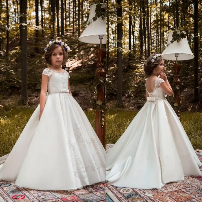 White Flower Girl Dresses For Weddings 2018 A Line Sequined Satin Long Kids Pageant Gowns Communion Dress Custom Any Size new white ivory nice spaghetti straps sequined knee length a line flower girl dress beautiful square collar birthday party gowns