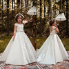 White Flower Girl Dresses For Weddings 2018 A Line Sequined Satin Long Kids Pageant Gowns Communion