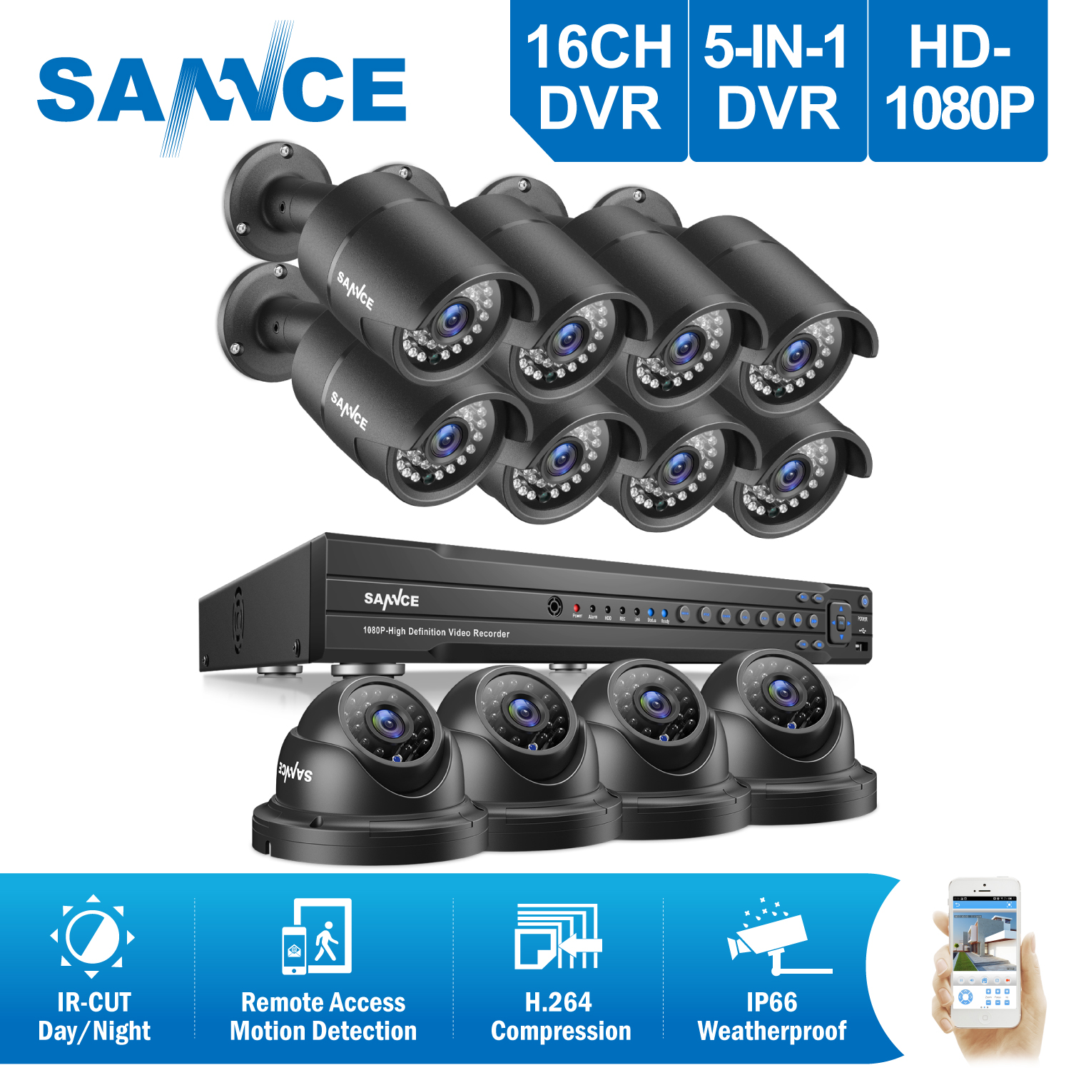 SANNCE 16CH 2MP Full HD CCTV System HDMI DVR 8PCS 1080P bullet 4PCS Dome Home Video Security Cameras Surveillance System 2TB HDD цена