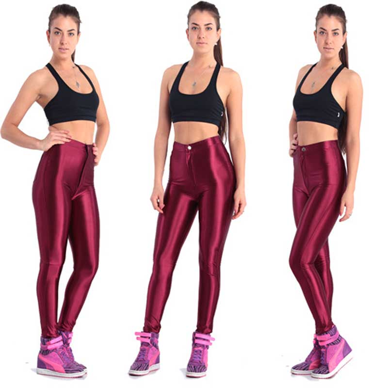 New Solid Fluorescent Leggings Women Casual Plus Size Multicolor Shiny Glossy Legging Female Elastic Pant Sporty Clothes