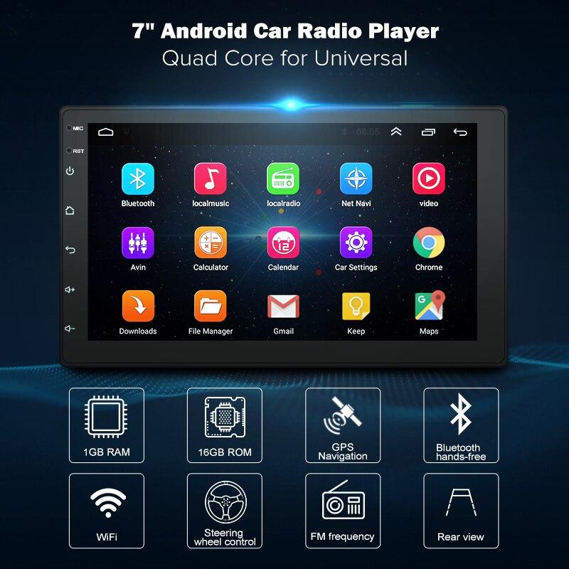 Lecteur multimédia de radio DVD de voiture Android8.1 2 Din de 7 pouces navigation GPS universelle pour Autoradio nissan n peugeot toyota doble din