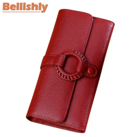 Bellishly Women Long Soild Top Quality Cow Leather Wallet Lady's Vintage Chic And Leisure Womens Wallets Leather Genuine Purses
