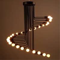 26 / 36 Head American Country Loft Iron Dining Room Pendant light Retro Cafe Wrought Spiral Light Bar Lights Free Shipping