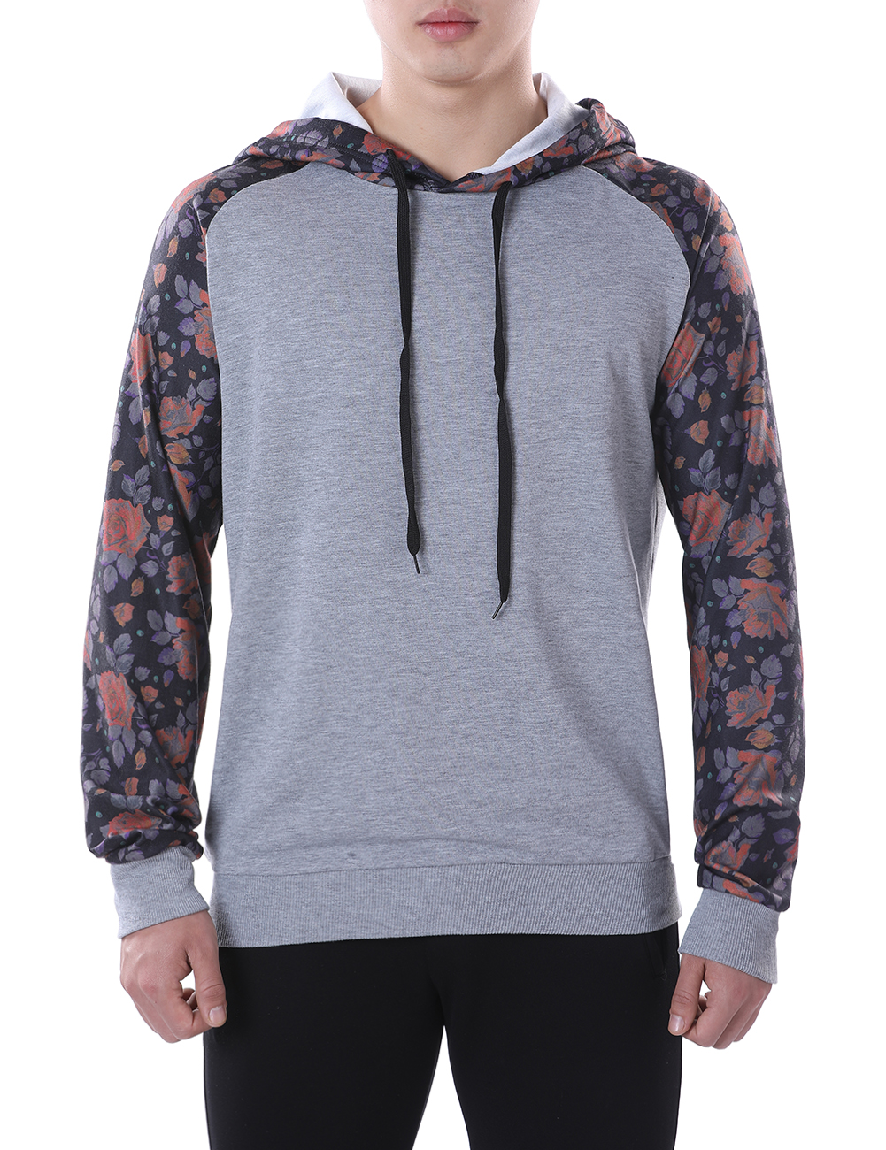2018 Fashion Hoodies Men Floral Hip Hop Mens Brand Patchwork hooded Pullovers Hoodie Cardigan Sweatshirt Slim Fit Men Hoody