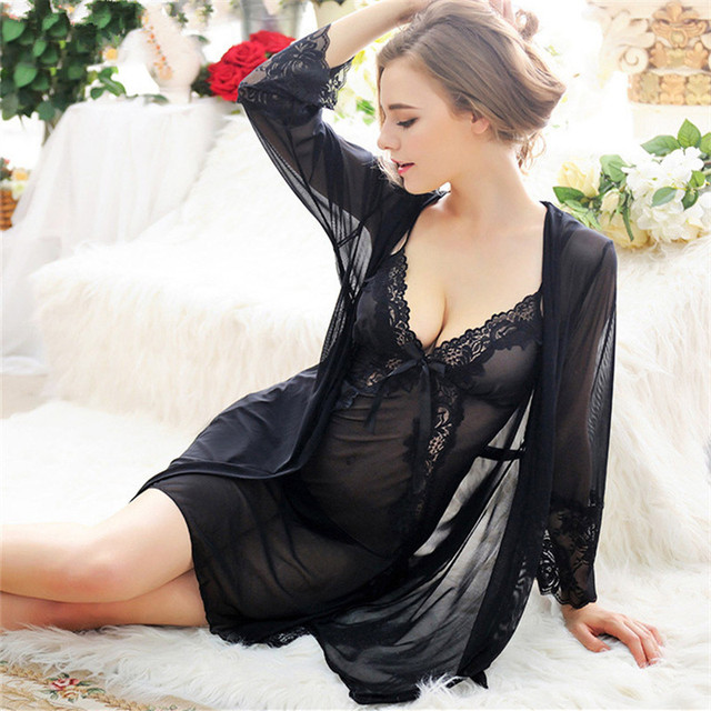 Hot Lace Dress+Robe+Thong Erotic Underwear