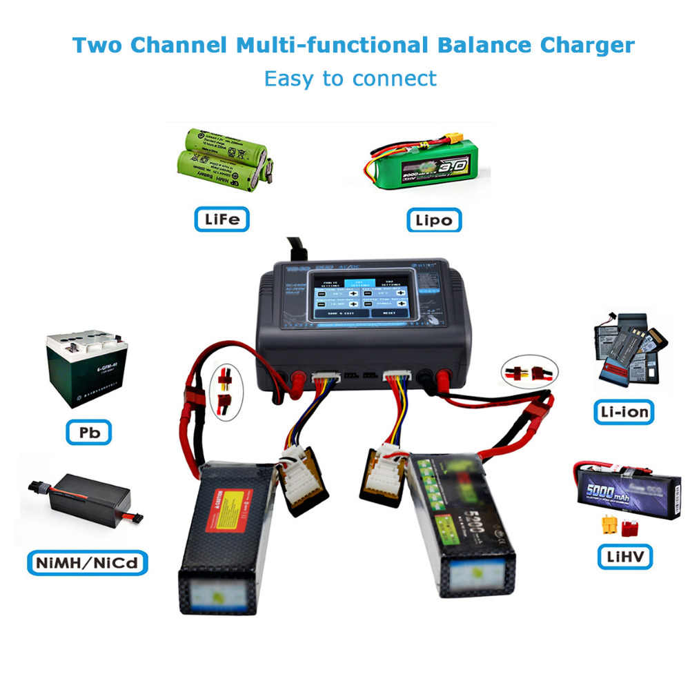 HTRC T240 DUO AC 150W //DC 240W Touch screen Dual Channel 10A RC Balance Charger