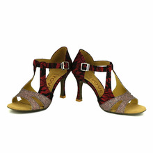 YOVE Dance Shoe Lace Women's Latin/ Salsa Dance Shoes 3.5″ Flare High Heel More Color w145-4