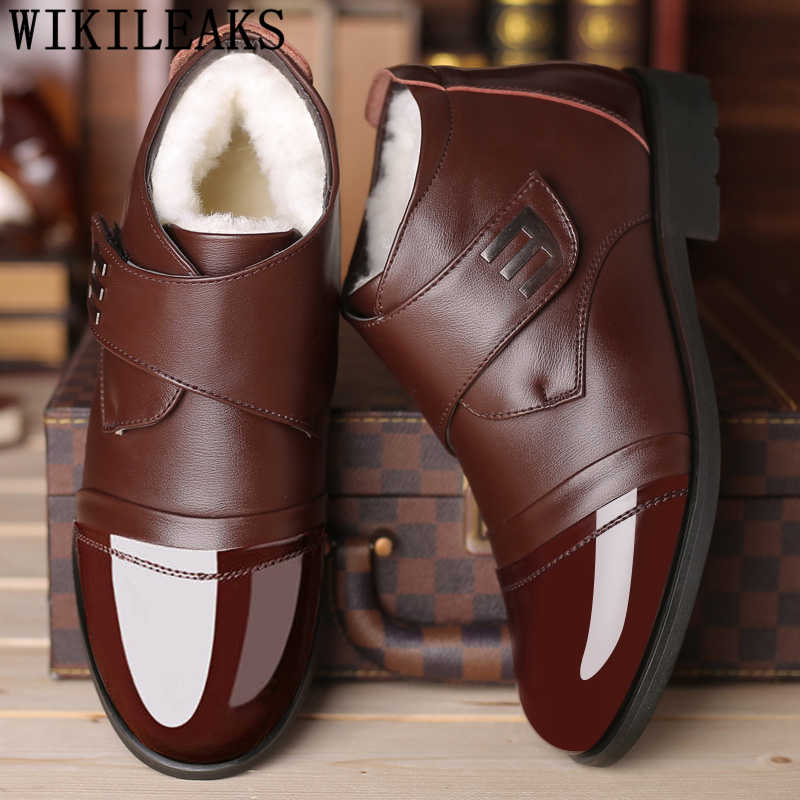 Dad warm winter shoes men short ankle boots men black brown man shoes  leather genuine oxfoxds 8ac4f4c319e2