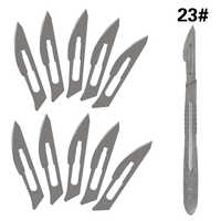 10 pc 20 # -- 23 # lames de Scalpel chirurgical en acier au carbone + 1 pc 4 # poignée Scalpel bricolage outil de coupe PCB réparation couteau chirurgical pour animaux