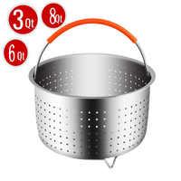 304 Edelstahl Dampfer Korb Instant Topf Zubehör für 3/6/8 Qt Instant Topf Druck Herd mit silikon Bedeckt Griff