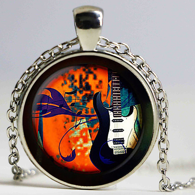 Guitar Music Glass Pendant Electric Guitar Necklace Musical