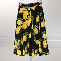 Customize woman Casual Calf length Lemon Print Chiffon/Cotton Wide Leg Pants lady fashion Elastic Loose chic Palazzo Lounge pant