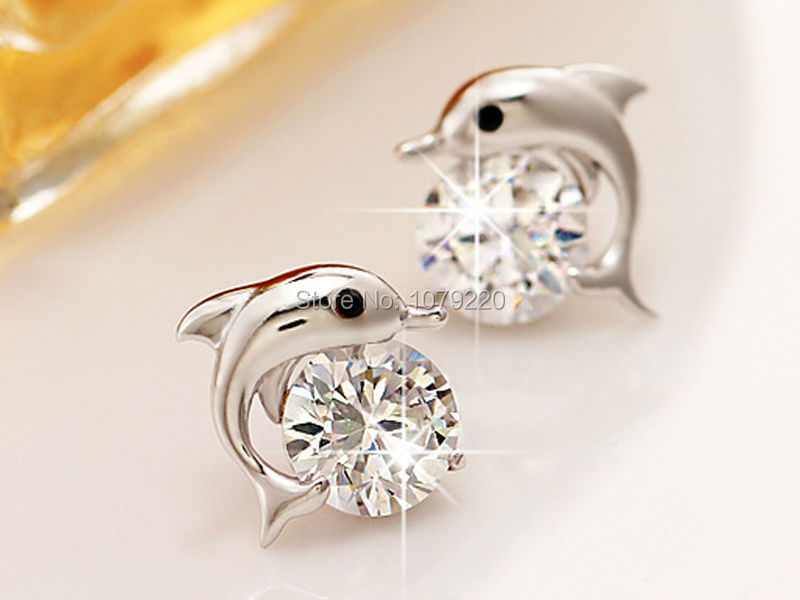 Dolphin Earring Women Girl Plated Charm Fashion Silver Ear Jewelry Romantic Party Wedding Gift