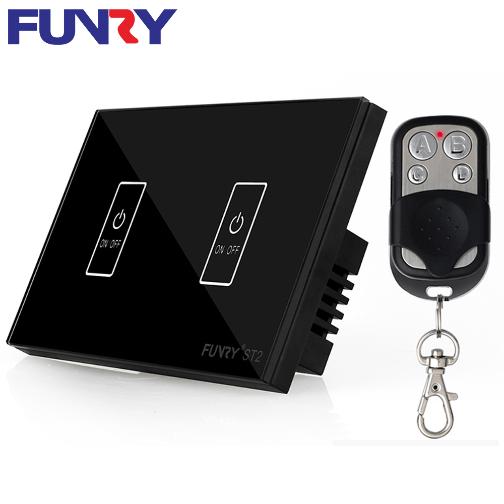 Funry US 2 Gang 1 Way Wireless Remote Control Light Switch Waterproof Fireproof 110-240V 5-200W Intelligent Wall Touch Switch funry st1 us 3gang light smart switch crystal glass panel wireless touch remote control 110 240v surface waterproof interruptor