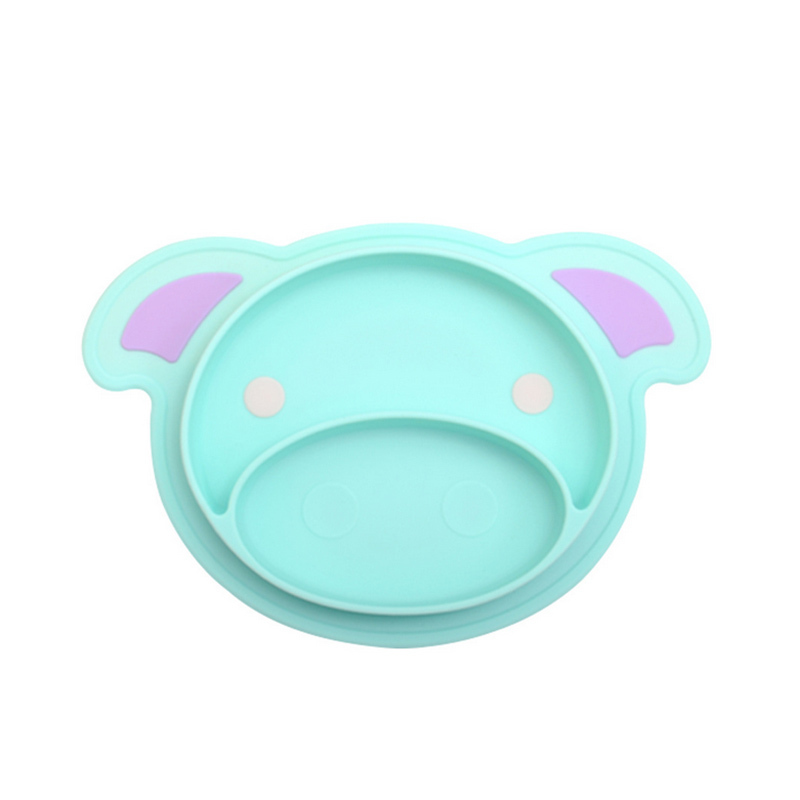 Cartoon Cute Pig Baby Feeding Dishes Infant Silicone Plate Bowls Tableware Food Tray Holder 28*19cm