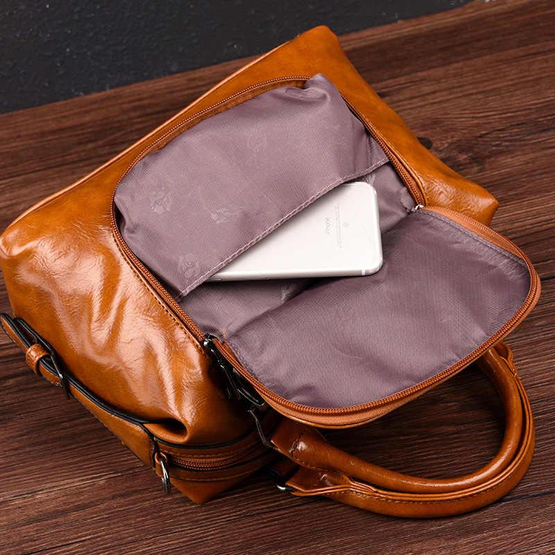 خمر حقيبة نسائية صغيرة النفط الشمع جلدية فاخرة حقائب سيدات Crossbody أكياس للإناث 2019 مصمم النساء حقيبة العلامة التجارية حقائب كتف