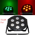 7x 12W RGBW DMX Stage Lights Business Lights Led Flat Par High Power Light with Professional for Party KTV Disco DJ EU