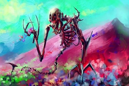 artwork fantasy artdigital art skeleton colorful flowers mountain ...
