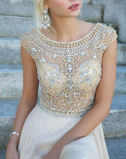 2017 Setwell luxueuse Robe De soirée Scoop longue Robe De soirée en mousseline De soie dos en V strass perlé formelle robes De soirée