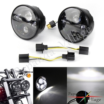 "2PCS 4.65"" Black Motorcycle 12V H4 LED Headlight Headlamp w/ Angel Rings For Harley Sportster Dyna Fat Bob FXDF Models 2008-2016"