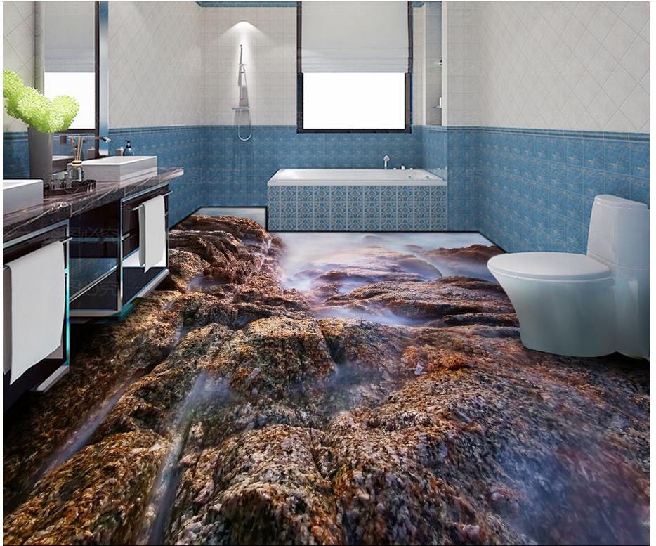 3d kleur steen tegel badkamer vloer woonkamer pvc waterdichte vloer ...