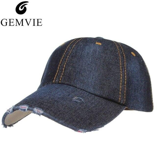 5 Colors Worn-out Holes Denim Baseball Cap Solid Cotton Dad Hats Men Women  Summer Hat Sun Caps Casquette Bone Snapback 08edbce05b98