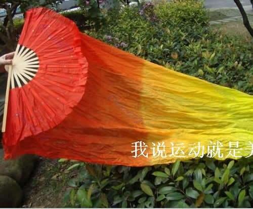 2 Pcs 1.5M Hand Made Belly Dance Silk Bamboo Fan Veils Manual Red Yellow