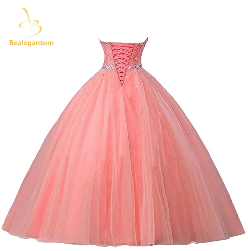 2018 nuevo Pink Quinceanera Vestidos De bola que rebordea encaje ...