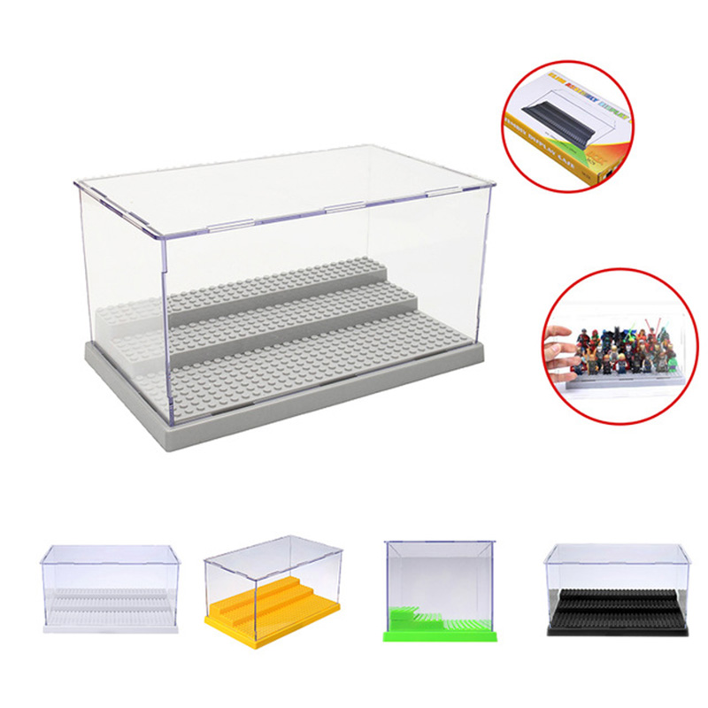 3 Steps Display Case Box Dustproof ShowCase Gray Base Acrylic Plastic Display Box Case Compatible Legoings