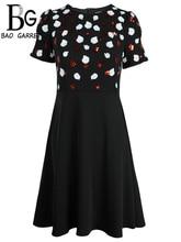 Baogarret  New Summer Fashion Designer Dress Womens Short Sleeve Ruffles Sequined Elegant Vintage Ladies Midi Dresses