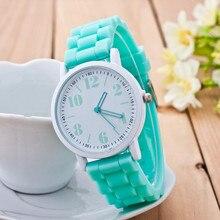 Повседневные часы Geneva унисекс кварцевые часы 7 видов цветов для мужчин и женщин Аналоговые наручные часы Спортивные часы Силиконовые часы reloj mujer hombre