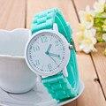 Casual Assista Genebra Unisex relógio Quartz 7 cores homens mulheres relógios de pulso Analógico Relógios Desportivos de Silicone relógios reloj mujer hombre