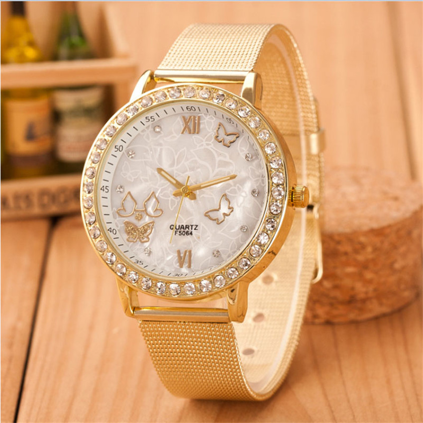 Women Ladies Crystal Butterfly Gold Stainless Steel Mesh Band Wrist Watch Diamond Roman Numerals Dial Analog Reloj Hombre B50