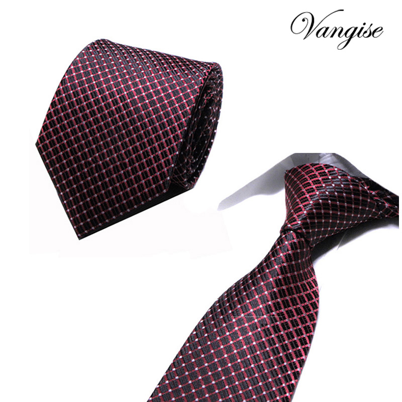 Brand necktie men ties designers fashion Dot Striped Plaid neck tie red wedding Business slim 8cm Skinny tie For Men cravate
