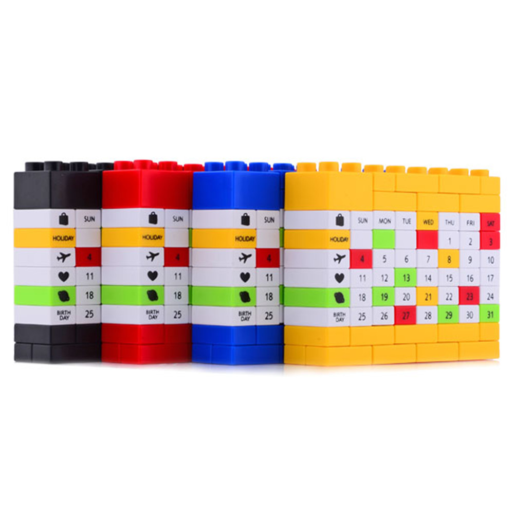 Novelty Bricks DIY Perpetual Puzzle Birthday Calendar 4 Colors For Creative Christmas/New Year/ Birthday Gift