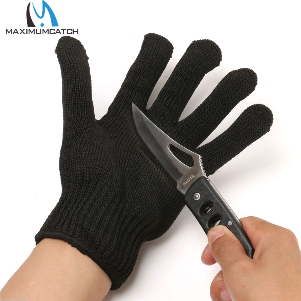 Maximumcatch Fishing Fillet font b Glove b font Cut Resistant Grey Black Stainless Left Right Hand